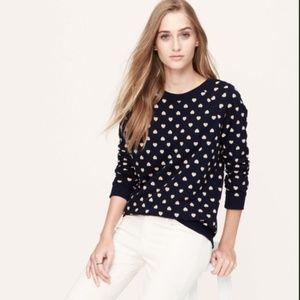 Ann Taylor Heart Sweatshirt | Blue | Size - Medium
